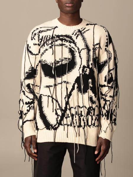 Alexander Mcqueen: Maglia a girocollo Skull Alexander McQueen con teschi in cashmere