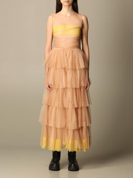 Red Valentino: Red Valentino long dress in tulle with flounces