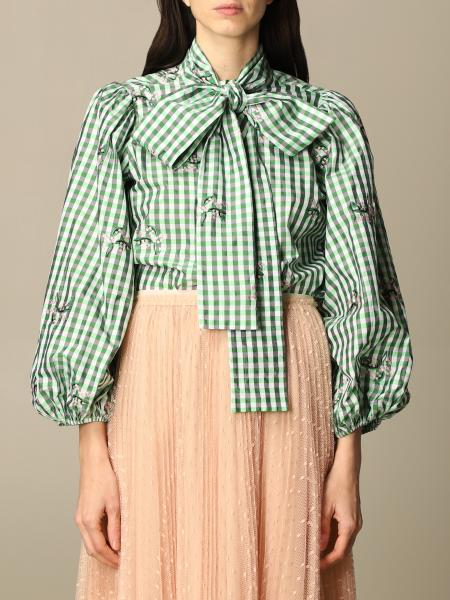 Red Valentino: Red Valentino checked shirt with bow