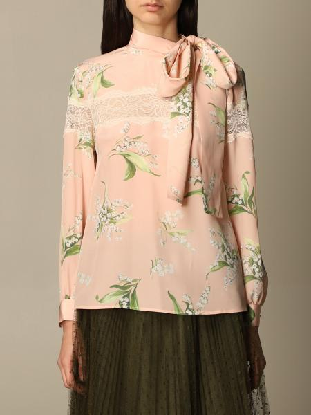 Red Valentino: Red Valentino bandeau silk shirt