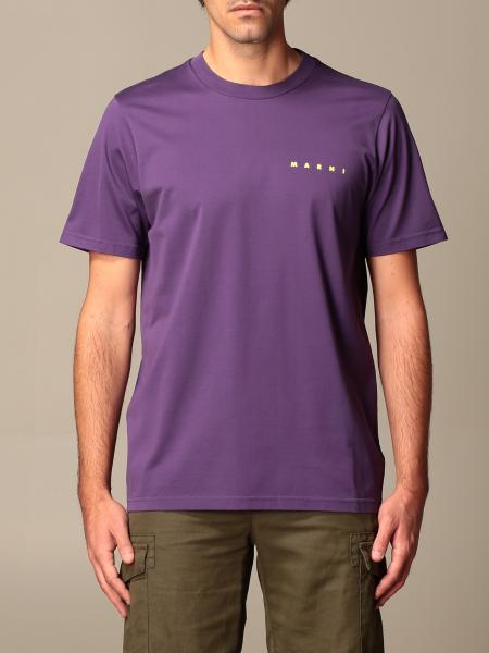 Marni: T-shirt Marni in cotone con logo e stampa posteriore