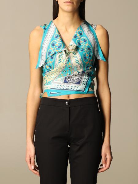 Etro women: Etro foulard top in printed silk