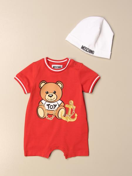 Moschino Baby onesie + hat set in cotton with logo