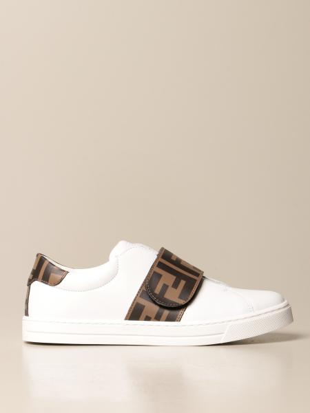 Sneakers Fendi slip on in pelle con banda FF