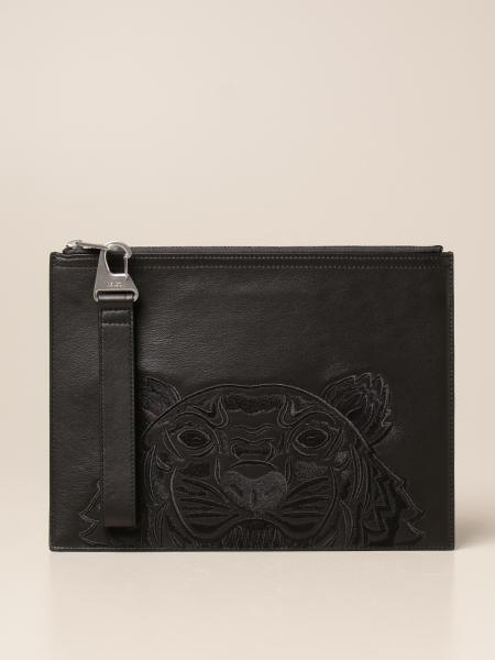 Kampus Kenzo clutch bag with Tiger Kenzo Paris logo embroidered in leather