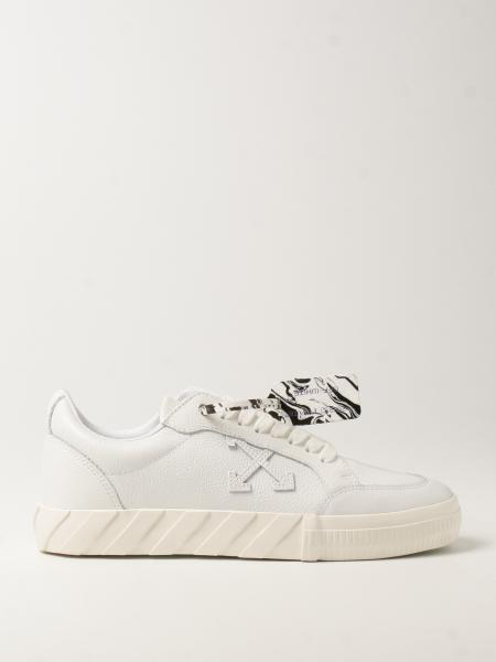 Sneakers low Vulcanized Off White in pelle martellata