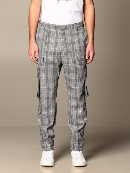 Alessandro Dell'acqua men: Alessandro Dell'acqua trousers in checked cotton blend