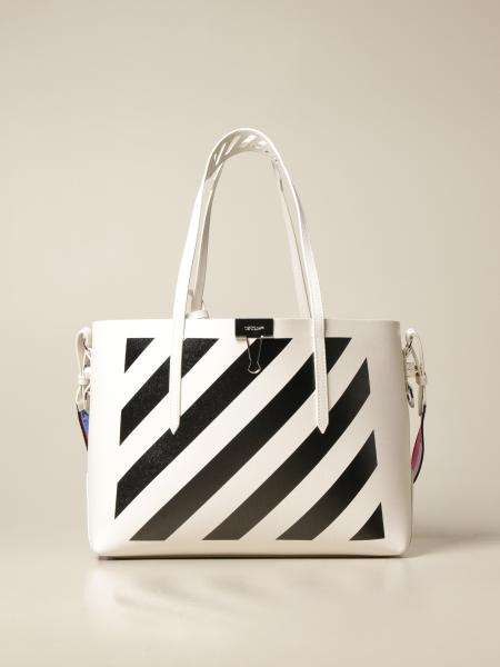 Diag Binder Off White bag in saffiano leather with diagonal print