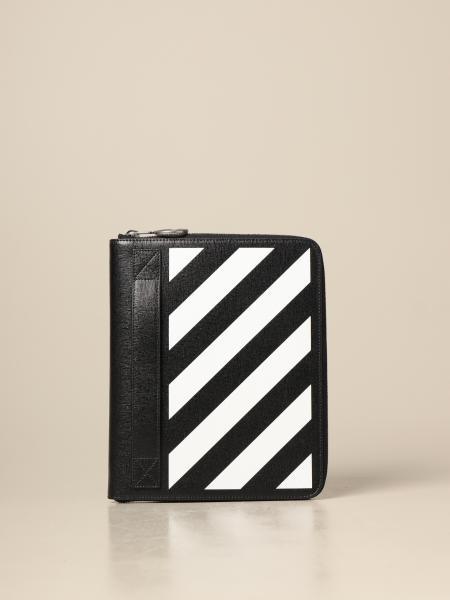 Porta documenti Off White in pelle saffiano con stampa diagonale