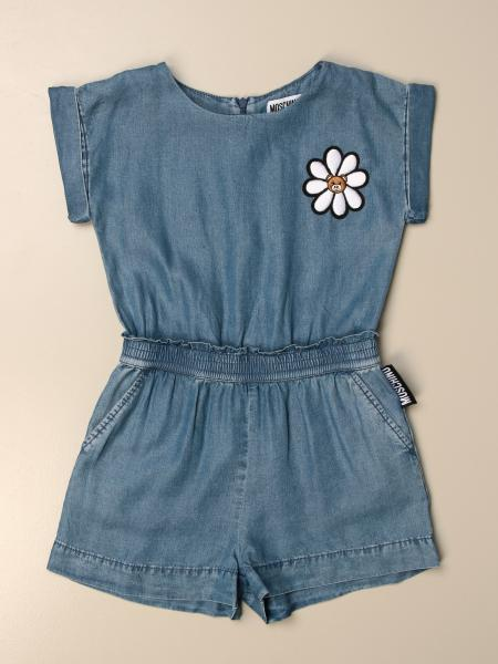 Moschino Kid short jumpsuit in denim with daisy
