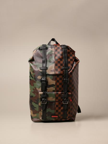 Sprayground: Sprayground backpack in vegan leather with camouflage and checked print