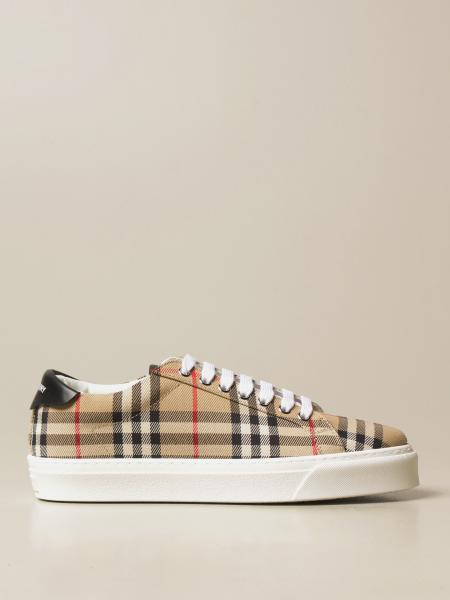 Burberry lace-up sneakers in check cotton canvas