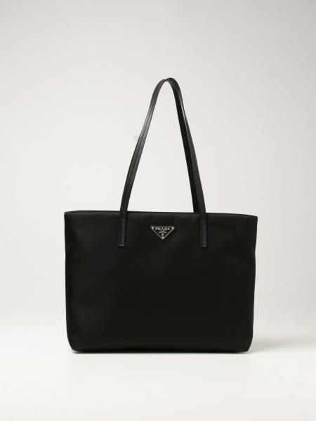Prada women: Prada shoulder bag in nylon and triangular logo