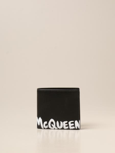 Alexander Mcqueen: Portafoglio Alexander McQueen a libro in pelle con logo