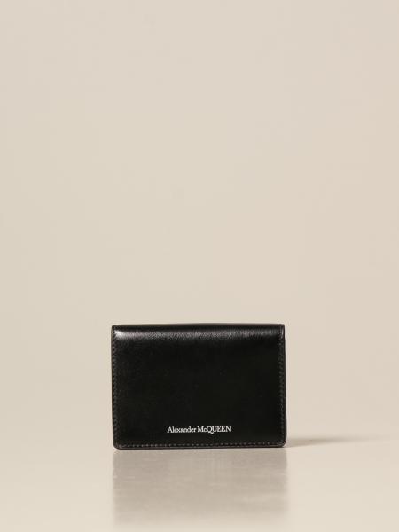 Alexander Mcqueen: Porta carte Alexander McQueen in pelle con logo