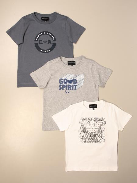 Set 3 t-shirt Emporio Armani in cotone stretch con logo