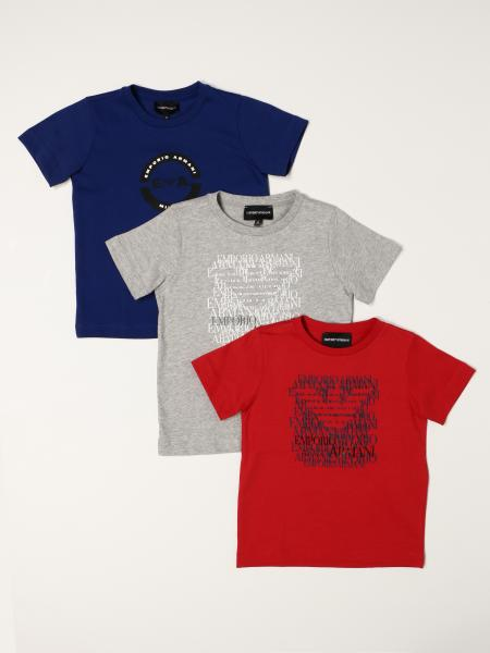 Set of 3 Emporio Armani t-shirts in stretch cotton with logo