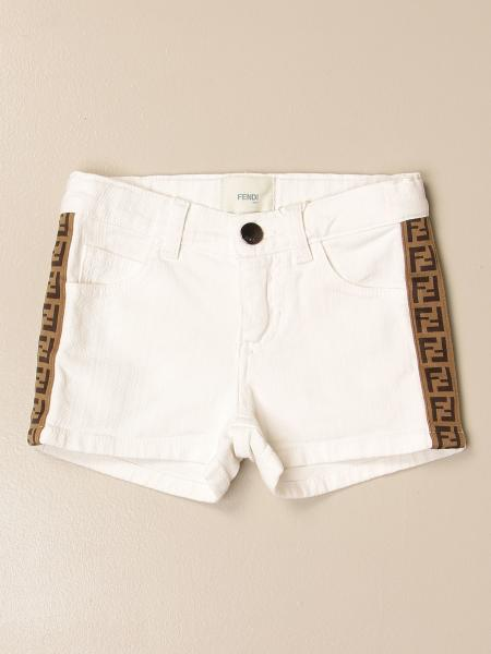 Pantaloncino di jeans Fendi con bande FF all over
