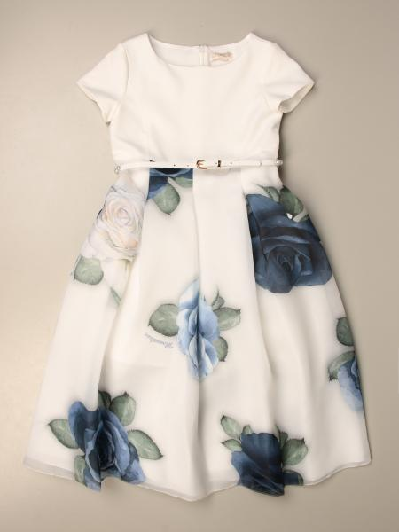 Monnalisa dress with floral patterned skirt
