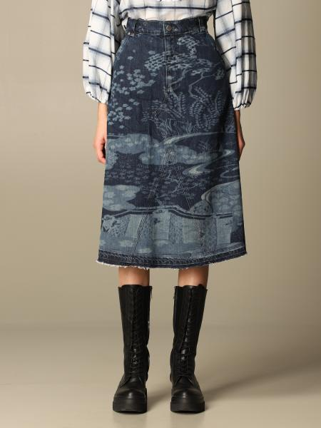 Red Valentino: Red Valentino skirt in patterned denim
