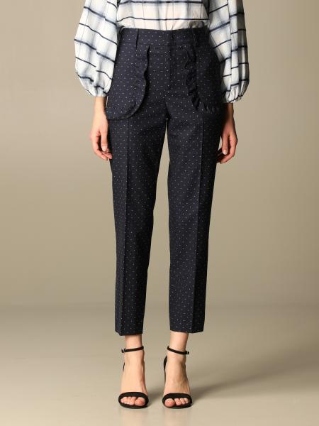 Red Valentino: Red Valentino trousers with micro polka dots