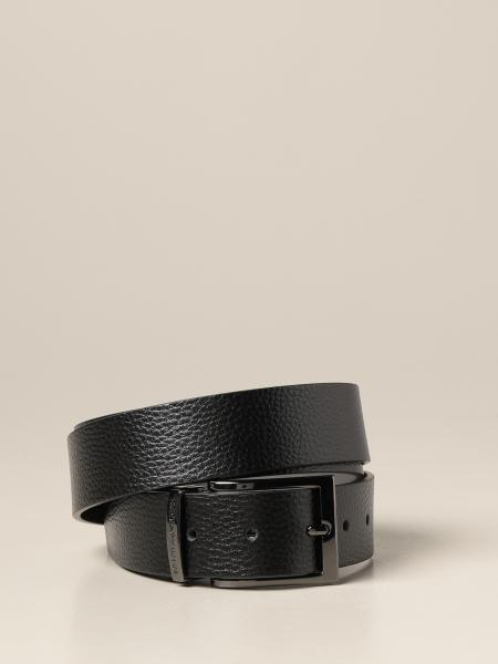 Reversible Emporio Armani belt in smooth calfskin and with chevron pattern