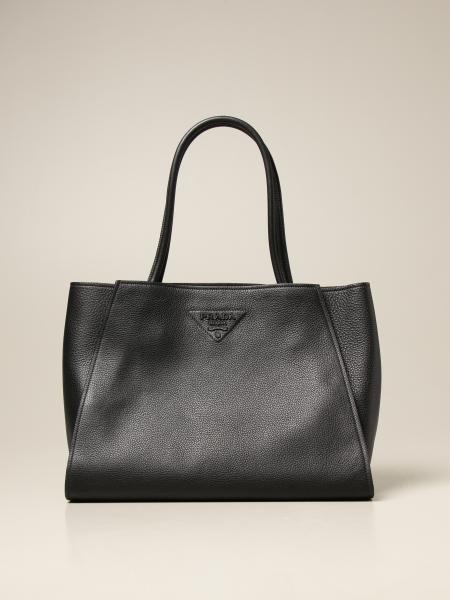Prada women: Prada shoulder bag in textured leather with triangular logo