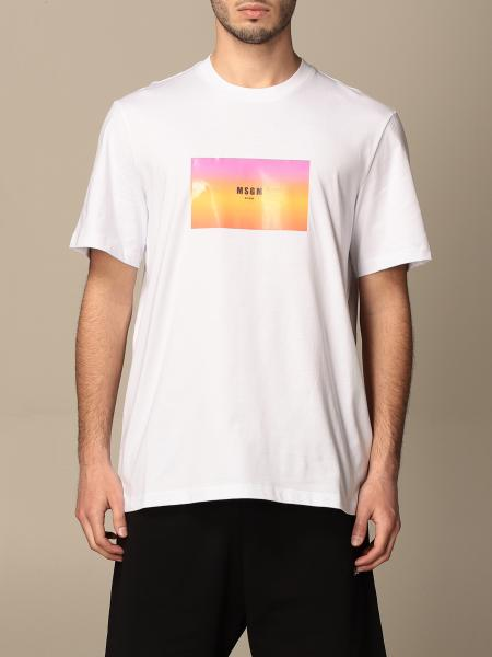 Msgm uomo: T-shirt Msgm in cotone con stampa frontale