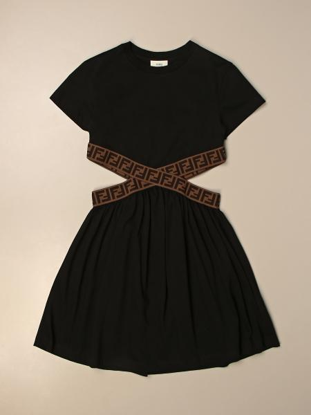 Fendi cotton dress with logoed bands