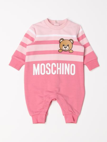 Tutina lunga Moschino Baby a righe con teddy