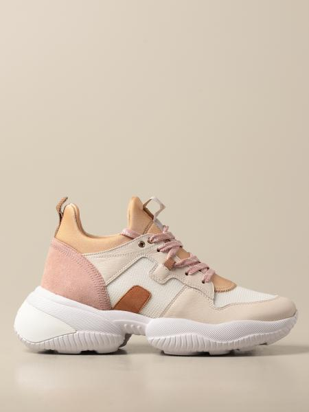Hogan women: Interaction Hogan sneakers in suede leather and micro mesh