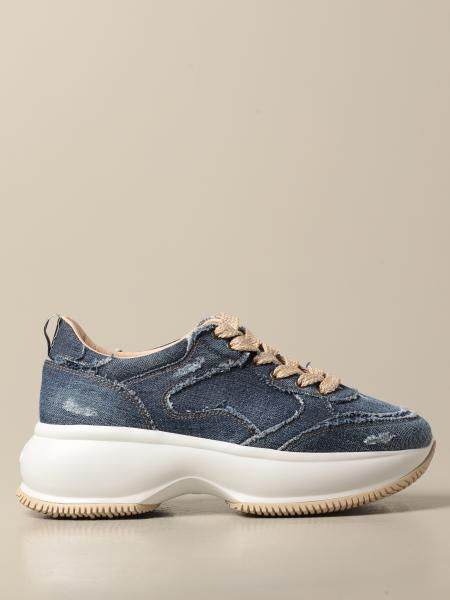 Hogan women: Maxi I Active Hogan sneakers in used denim with tears