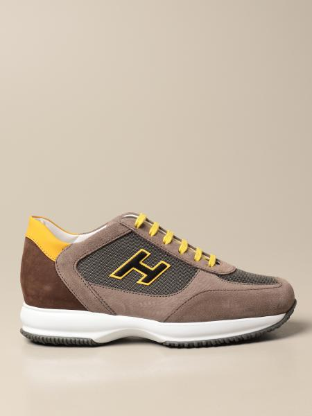 Sneakers Interactive Hogan in nabuk e mesh con H flock