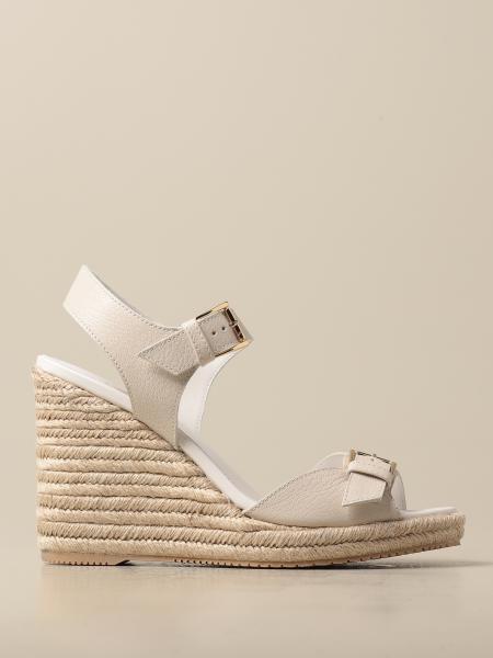 Hogan women: Hogan wedge sandal in leather with buckle