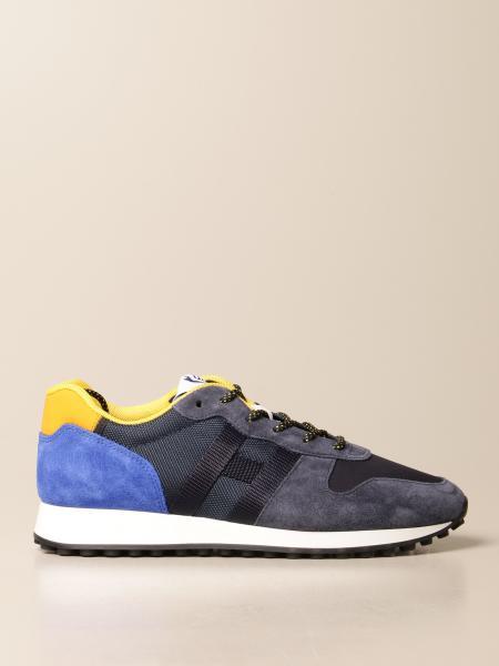 Sneakers Hogan in camoscio nylon e micro rete