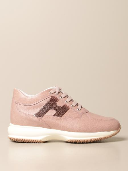 Hogan women: Interactive Hogan sneakers in leather with sequin H