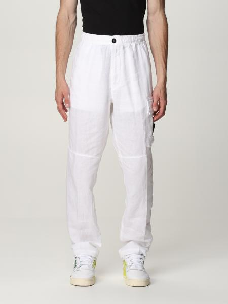 Stone Island trousers in linen with logo