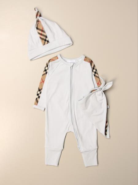 Burberry jumpsuit + hat + bib set in cotton with check bands
