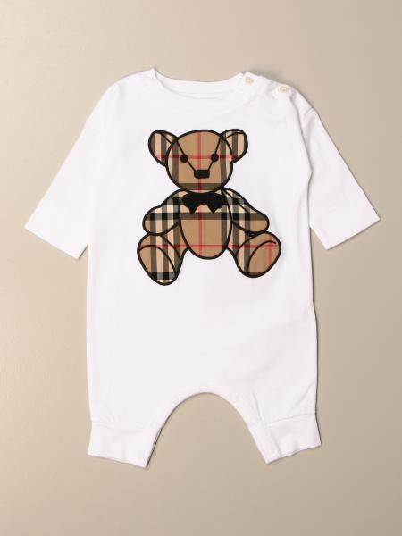 Burberry cotton onesie with check teddy bear