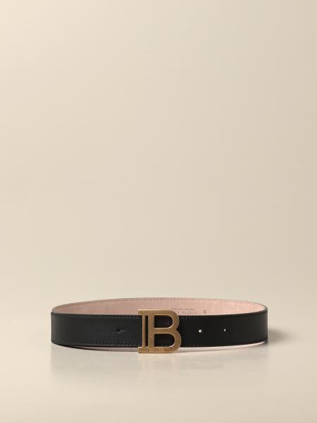 Balmain: Cintura Balmain in pelle con monogramma B
