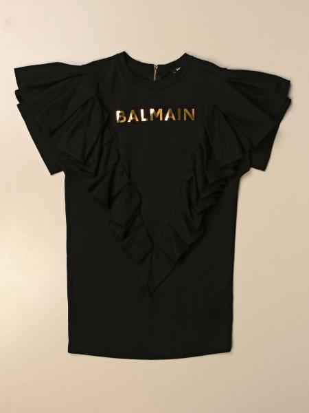 Abito Balmain in cotone con rouches
