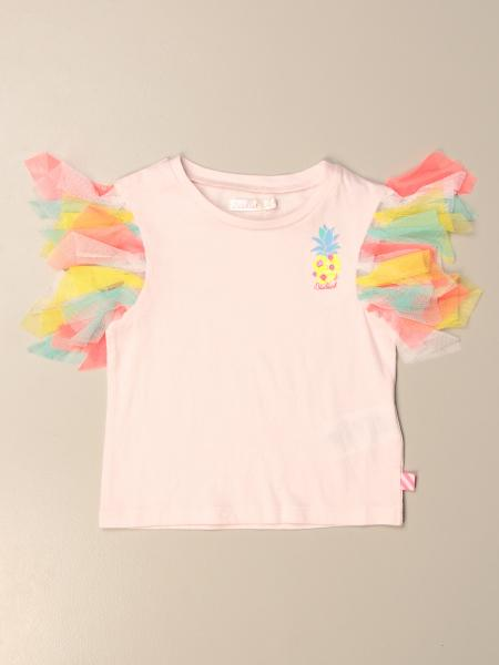 T-shirt Billieblush in cotone con maniche in tulle multicolor