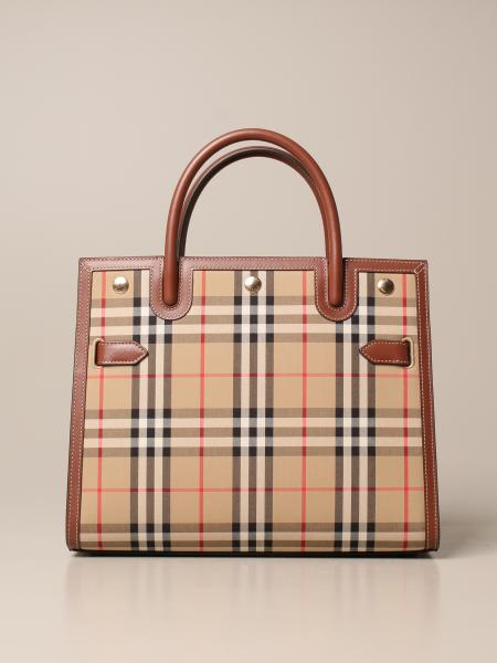 Burberry women: Burberry handbag in check fabric and leather