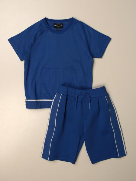 Emporio Armani t-shirt + shorts set in cotton
