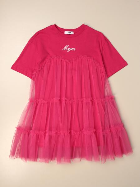 Msgm Kids dress in cotton and tulle