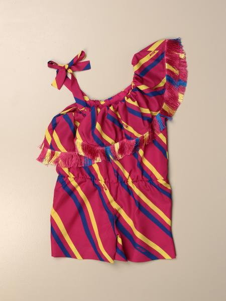 Msgm Kids one-shoulder jumpsuit with diagonal stripes
