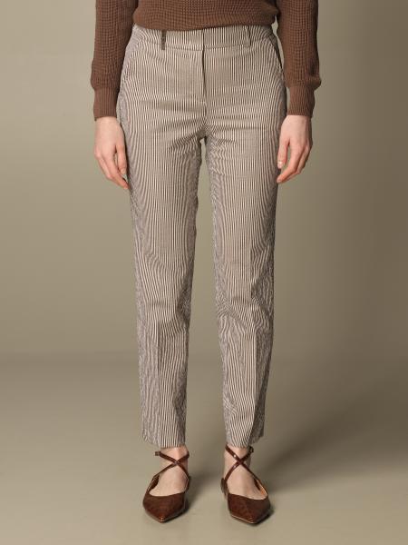 Pantalone Peserico in misto cotone a micro righe
