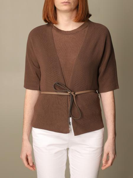 Peserico cardigan in cotton with belt