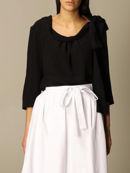 Prada women: Prada crepe de chine sweater with side bow