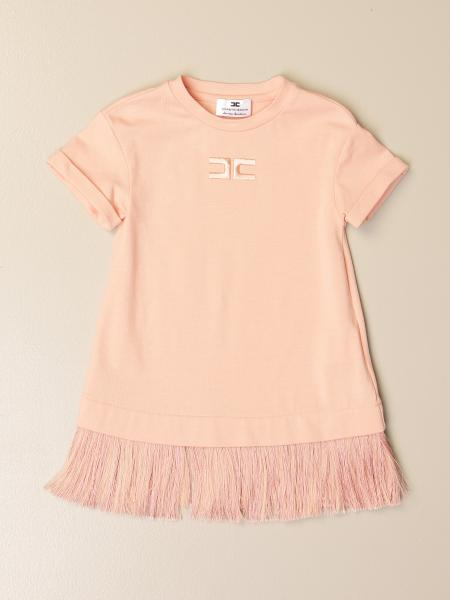 Elisabetta Franchi short dress in cotton with fringes
